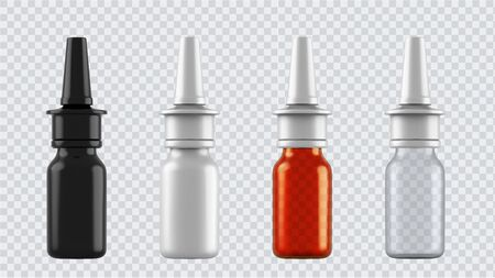 Realistic mock up bottles for drugs, tablets, drops and spray etc. 3d Plastic blank medical containers isolated on transparent background. Vector illustration
