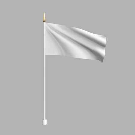 Realistic white flag waving in the wind. 3D advertising textile vector flags. Template for products, advertizing, web banners, leaflets, certificates and postcards. Vector illustration Çizim