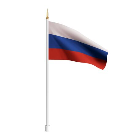 Vector realistic Russia Flag. 3D waving flag textile. Template for products, banners, leaflets, certificates and postcards. illustration