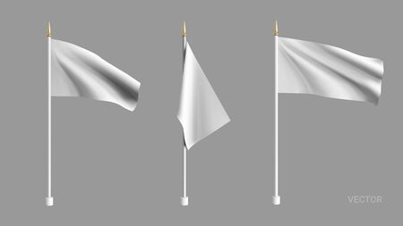 Realistic white flag waving in the wind. Set 3D advertising textile vector flags. Template for products, advertizing, web banners, leaflets, certificates and postcards. Vector illustration