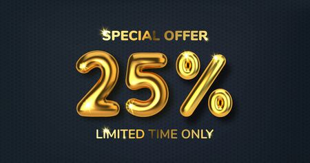 25 off discount promotion sale made of realistic 3d gold balloons. Number in the form of golden balloons. Template for products, advertizing, web banners, leaflets, certificates and postcards. Vector
