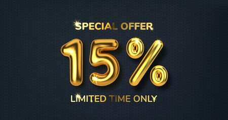 15 off discount promotion sale made of realistic 3d gold balloons. Number in the form of golden balloons. Template for products, advertizing, web banners, leaflets, certificates and postcards. Vector