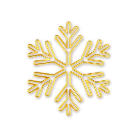 3D Realistic golden snowflake with on white background.  イラスト・ベクター素材