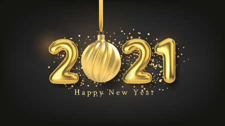Happy New Year background with realistic gold inscription 2021 and Christmas tree toy of gold on a black horizontal background. Vector illustration