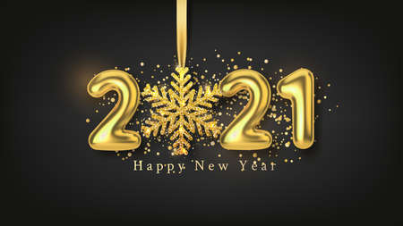 Happy New Year background with realistic gold inscription 2021 and golden snowflake on a black horizontal background. Vector illustration