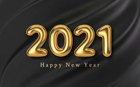3D Realistic golden inscription balloon 2021 on a black silk background. Golden metallic text new year for banner design. Template from texture fabric and foil. Vector illustration