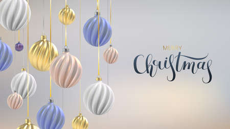 Xmas background with Christmas balls of nacre pink, gold and blue, a spiral balls on a color vertical background, with the inscription Christmas. Vector Illustration