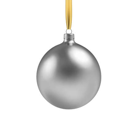 Silver Christmas ball, with an ornament and spangles