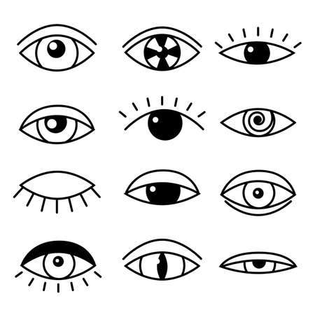 Flat set with black outline eye on white background. Open, sleeping and closed eyes. element vector illustration. Vetores