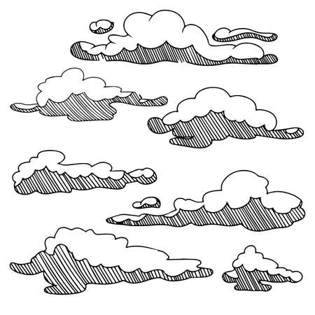 Sketch collection of clouds in hand drawn lisolated on white background. Vector illustration. 矢量图像