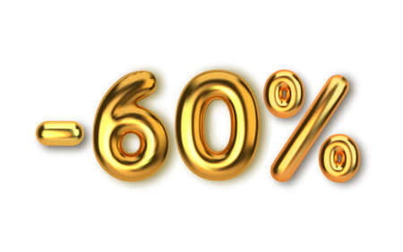 60 off discount promotion sale made of realistic 3d gold balloons. Number in the form of golden balloons. Template for products, advertizing, web banners and postcards. Vector