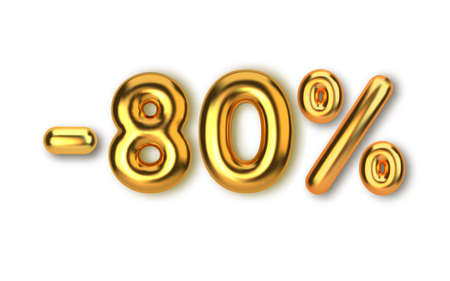 80 off discount promotion sale made of realistic 3d gold balloons. Number in the form of golden balloons. Template for products, advertizing, web banners, leaflets, certificates and postcards. Vector