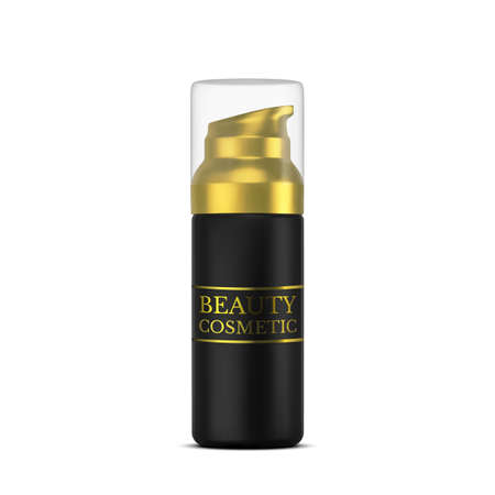 Vector 3D cosmetic illustration for beauty products line for face care. Mockup black tube of cream on white background. Realistic Vector 矢量图像