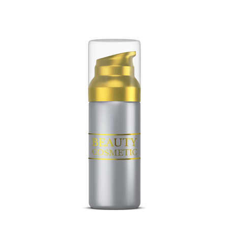 Vector 3D cosmetic illustration for beauty products line for face care. Mockup silver tube of cream on white background. Realistic Vector