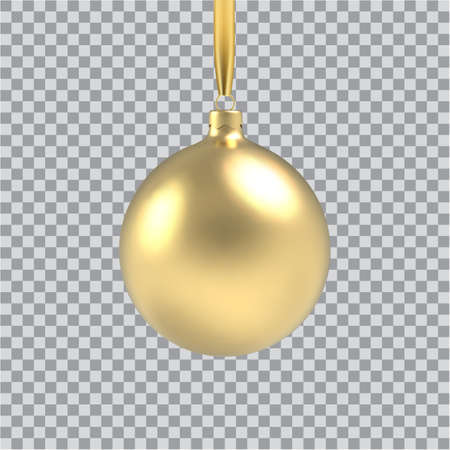 Gold Christmas ball, with an ornament and spangles. Isolated on transparent background. Vector illustration.