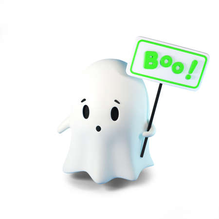 3D render illustration of cute friendly Ghost with an inscription on the Boo sign on white background. Happy Halloween 免版税图像