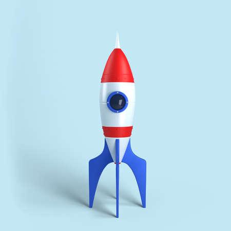 Rocket on blue background, 3D rendering illustration