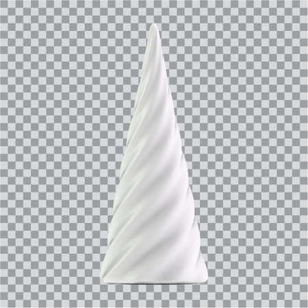 Realistic white Christmas abstract fir tree in the form of a spiral