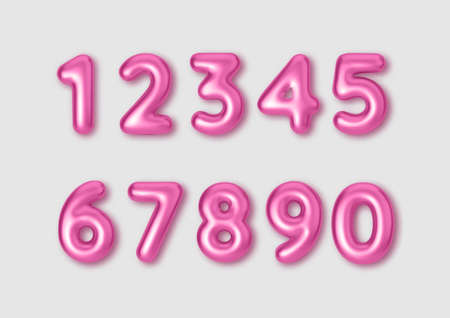 Realistic 3d font color pink numbers. Number in the form of metal balloons. 矢量图像