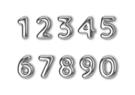 Realistic 3d font color silver numbers. Number in the form of metal balloons. 矢量图像