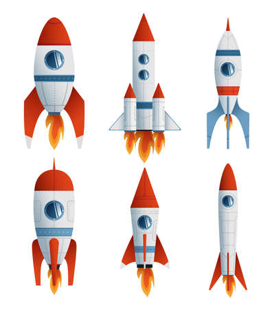 Collection flat icon rocket on white background. Vector flat illustration creative graphic design. 矢量图像
