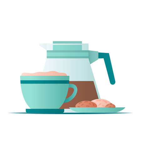 Flat illustration coffee mug with a plate of cookies on white background for concept design. Vector