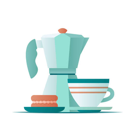 Flat illustration geyser coffee maker and coffee mug with cake macaroon on white background. Vector illustration 矢量图像