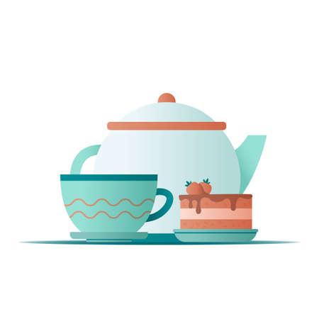 Flat illustration teapot and tea mug with strawberry cake on white background for concept design. Vector illustration 矢量图像