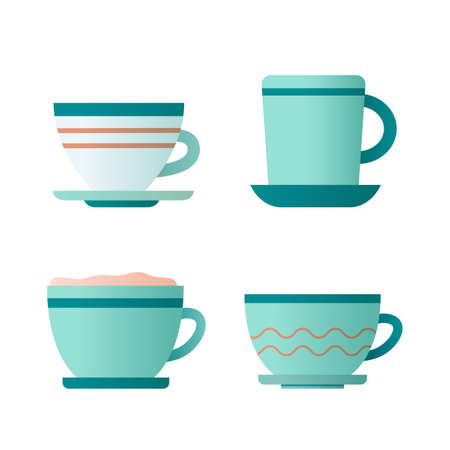 Flat icon with cup coffee and tea on white background for concept design. Vector illustration