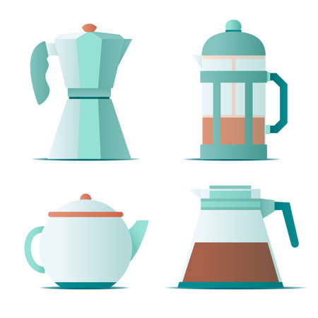 Flat icon with teapots, french press for making coffee and tea on white background for concept design. Vector