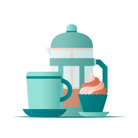 Flat illustration french press and cup of coffee with cap cake on white background for concept design. Vector