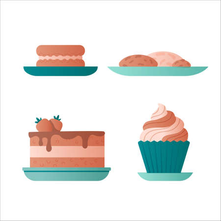 Cakes, great design for any purposes. Tasty confectionery collection. Flat vector illustration.