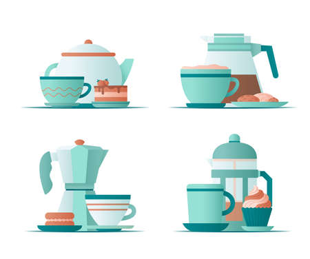 Different cups, coffee kettles and sweet dessert. Flat vector illustration. 矢量图像