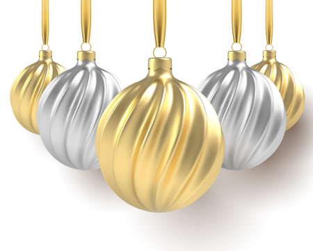 2021 Happy New Year. Christmas tree toys of silver and gold, spiral balls in white background. Vector illustration