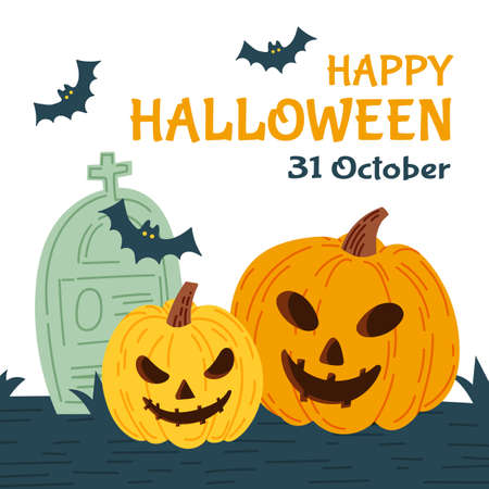 Halloween party invitation card for holidays. Pumpkin and bats, ghosts. Vector illustration.