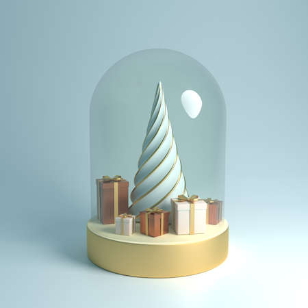 3d rendering Christmas brown and white gift box with a gold bow, concept gold fir tree in glass ball