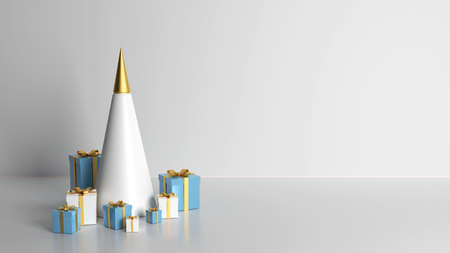 3d rendering 2021 year, Christmas blue and white gift box with a gold bow, concept gold fir tree