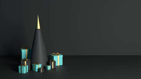 3d rendering 2021 year, Christmas blue and black gift box with a gold bow, concept gold fir tree 免版税图像