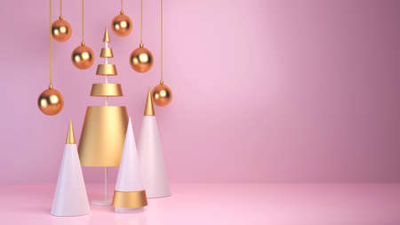 3d rendering Christmas balls, concept gold fir tree, greeting card holiday christmas and new year 免版税图像