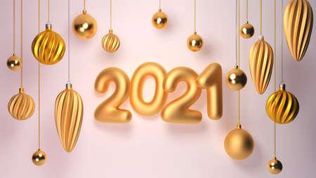 3d rendering 2021 year, Christmas balls, greeting card holiday christmas and new year, Horizontal modern illustration.