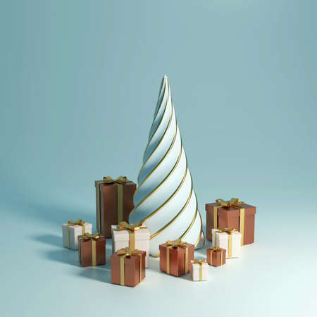 3d rendering 2021 year, Christmas brown and white gift box with a gold bow, concept gold fir tree
