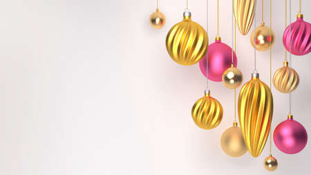 3d rendering Christmas balls in the form of a spiral, gold and pink balls, greeting card holiday christmas and new year.