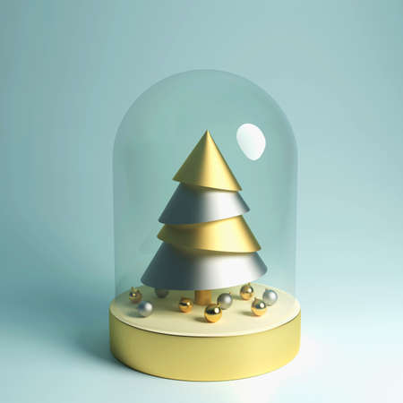 Christmas Snow globe with golden fir tree and Christmas balls inside, realistic 3D illustration, greeting card