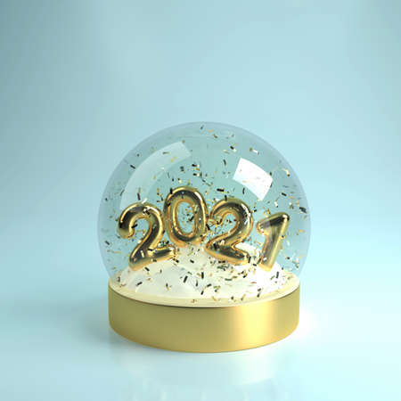 Christmas Snow globe with gold inscription 2021, snow and flying serpentine inside, realistic 3D illustration