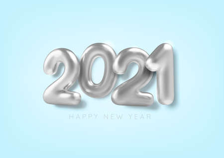 Happy New Year. 3D Realistic silver inscription balloon 2021 on blue background. Metallic text. Vector illustration.