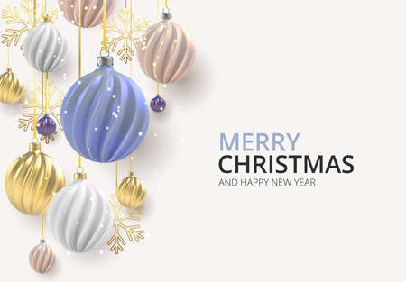 Christmas background with Christmas balls of nacre pink, gold and blue, a spiral balls on a color horizontal background.