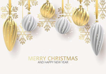 Christmas background with Christmas tree toys of white and gold, a spiral balls and snowflakes Vector illustration.