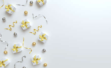 3d Christmas background top view, white gift and gold bow, silver and golden balls, tinsel.