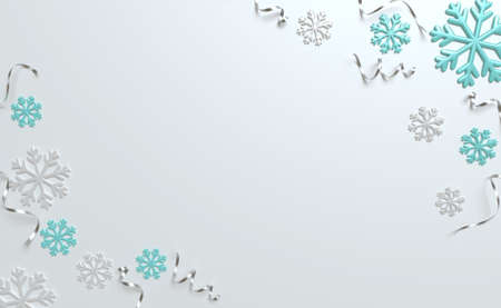 3d Christmas background top view, silver and blue snowflake, tinsel. Winter holiday, render illustration.