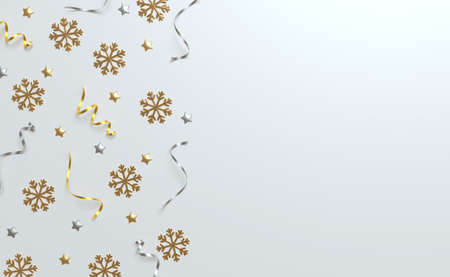 3d Christmas background top view, silver and golden balls, tinsel and stars. Winter holiday, render illustration.